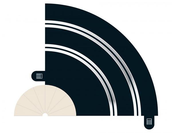 Radius 1 Hairpin Curve 90° x 2